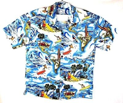 toes on the nose rare mens large hawaiian camp surfer surfing shirt made in usa