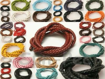 3mm/4mm/5mm/6mm Braided Genuine Real Hide Leather Lace Thong Cord 1-3m Jewellery