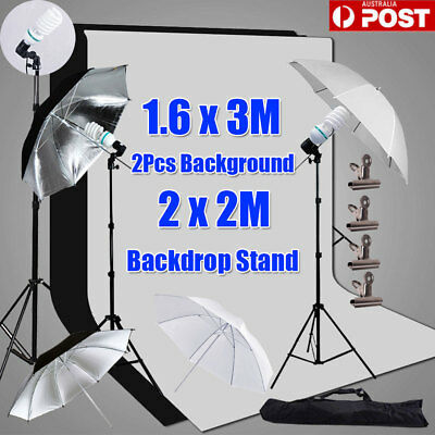 "Photography Studio Continuous Lighting 33"" Umbrella Light Backdrop Stand Kit AU"