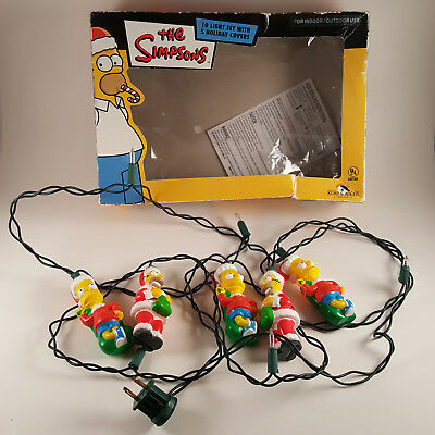 RARE The Simpsons Christmas String Lights - Bart & Homer - 2003 - FREE SHIPPING