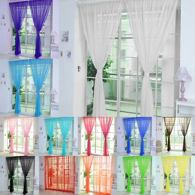 2 Piece Assorted Plain Color Door Window Voile Rod Pocket Room Curtain Sheer
