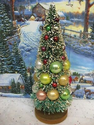 Vintage NAPCO Bottle Brush Christmas Tree Mercury Glass Ornaments Gold Glitter
