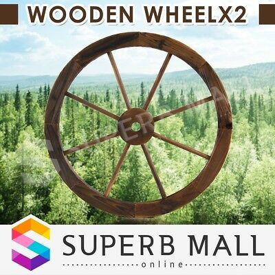 Large Wooden Wheel x2 Garden Decor Feature Outdoor Decoration Wagon Wheels