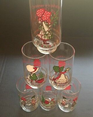 Set of 5 Vintage Coca Cola Christmas Drinking Glasses - Holiday Cups
