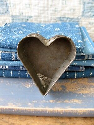 Early Antique Dark Tin Heart Mold with Rolled Edges