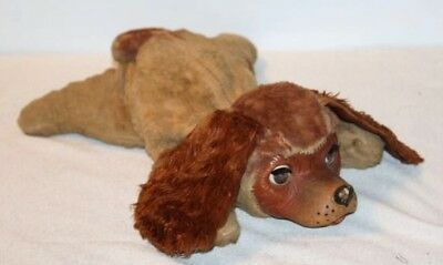 "Vintage LADY Rubber Face Dog Brown Eyes Open/Close Stuffed Animal Toy 15"" Gund"