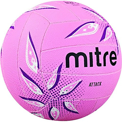 Mitre Attack Training Netball, Pink/Purple/White, Size 5