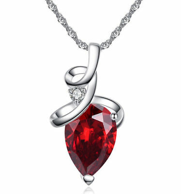 18K White Gold GP Teardoop Crystal Pendant Necklace Lady Choker Chain Necklace