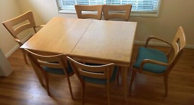 VINTAGE, HEYWOOD-WAKEFIELD DINING SET/ Table, a leaf & 6 Dog-bone style chairs