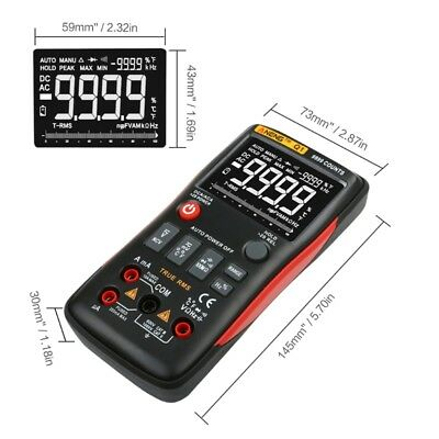 Q1 Digital Multimeter Auto Button 9999 Counts Analog Bar Graph Tester True-RMS