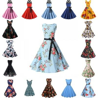 a6a76aacc038b WOMENS FLORAL VINTAGE 50s 60s Retro Rockabilly Pinup Housewife Party Swing  Dress