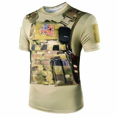 Camouflage Men 3D Style Military Tactical Combat Quick Dry Hunting Apparel Shirt