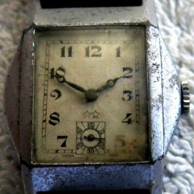 GENTS ART DECO VINTAGE RETRO 1930/40s CHROME SWISS WATCH FOR SPARES / REPAIRS