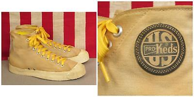 Vintage 1940s US Pro Keds Canvas High-Top Basketball Sneakers Athletic Shoes 9.5