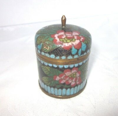 Antique Cloisonne Covered Box Asian Collectible Red Pink Aqua Flowers on Black