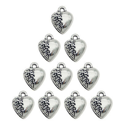 30x Vintage Silver Alloy Heart Shape Pendants Findings Charms Crafts 50400