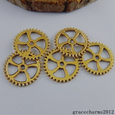 38x Vintage Gold Alloy Gear Wheel Shaped Charms Pendants Findings Crafts 50899