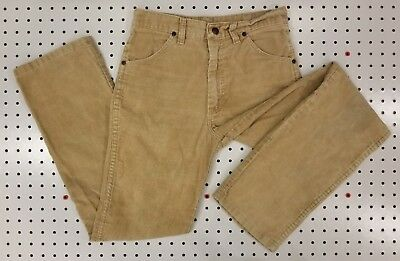 USA Made! WRANGLER Corduroy 25x27(actual) Youth(?) sz.14 TALON ZIP Tan/Lt. Brown