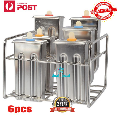 6Pcs Molds Stainless Steel Ice Cream Pop Mould Lolly Popsicle + 60Pcs Stick Hold
