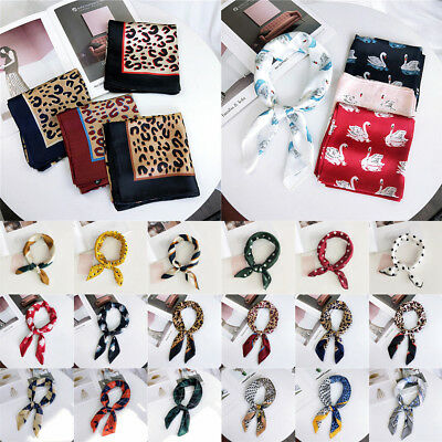 Hair Band Wraps Square Scarf Leopard Printed Neck Tie Silk Feel Satin