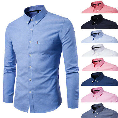 Mens Long Sleeve Shirt Button Down Business Work Smart Formal Casual Dress Shirt