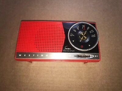 WESTINGHOUSE TRANSISTOR RADIO RED 1950s SEVEN UNBREAKABLE CASE EXCELLENT COND