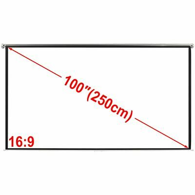100'' 4:3 Portable Projector Screen Matte White Manual Pull Down Movie Theater