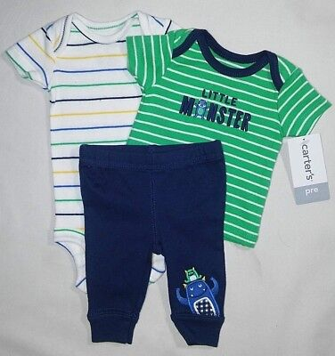 005595ba1 NWT Baby Boy Carter's PREEMIE 3pc MONSTER Outfit Set Pants Bodysuit Shirt  NEW