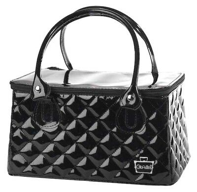 Caboodles Heartthrob It Bag Travel Case Black Patent Quilted Vinyl