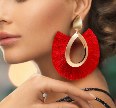 Bohemian Large Tassel Earrings Women Handmade Fringe Earrings Statement Jewelry