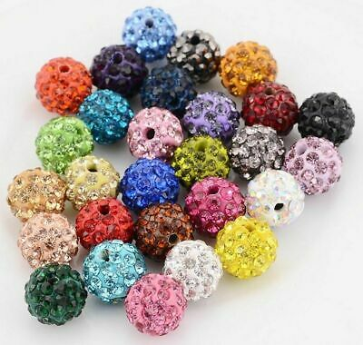 20Pcs 8/10mm Space Loose Beads Crystal Round Ball DIY Jewelry Finding Crafts
