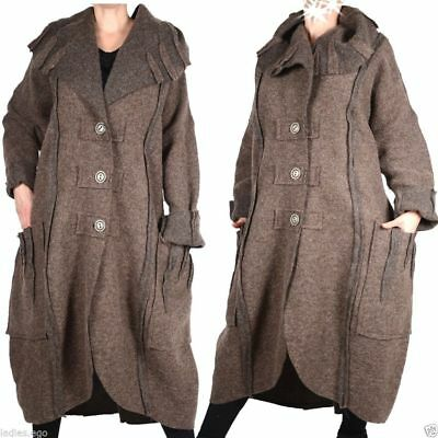 DAMEN WOLLE BALLON Mantel Coat Lagenlook Winter Übergang L