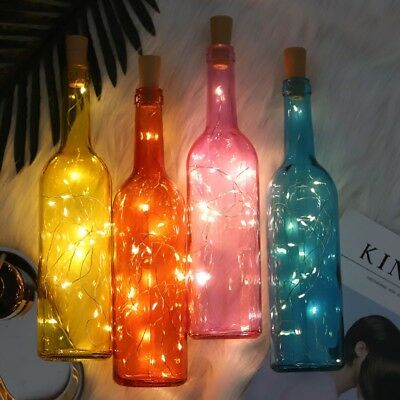 10-20 LED Cork Copper Wire Fairy String Lights Wine Bottle For Xmas Party Decor