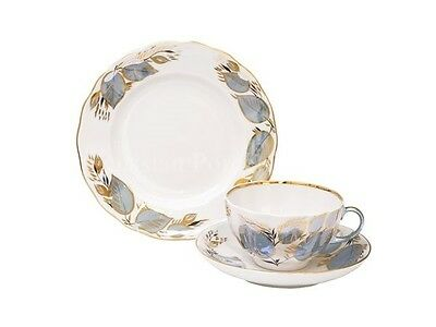 Russian Imperial Lomonosov Porcelain 3 Set Tea Cup, Saucer, Plate Moon Rare Gold