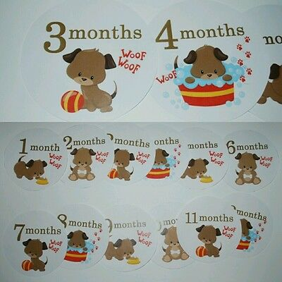 Puppy Monthly baby stickers