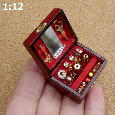 1:12 Dollhouse Miniature Filled Wooden Jewelry Box Room Accessorie Decorations