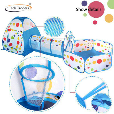 Portable 3 in1 Childrens Kids Baby Play Tent Tunnel Ball Pit Playhouse Pop Up UK