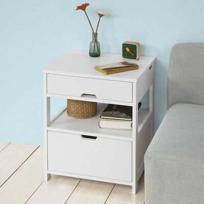 So White Wood Bedside End Sofa Side Table With 2 Drawers