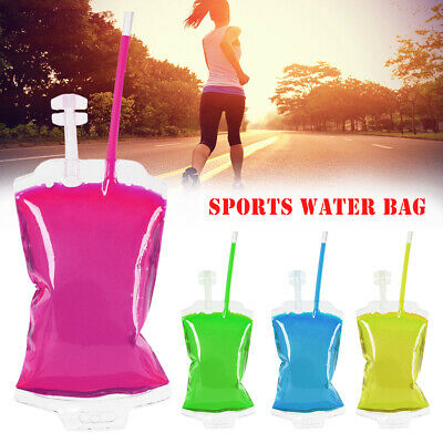 10pcs Collapsible Drink Bag Pouch Water Bottle Outdoor Hiking Sport Travel