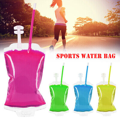 Collapsible Drink Bag Pouch Water Bottle Flexible Outdoor Hiking Sport Travel