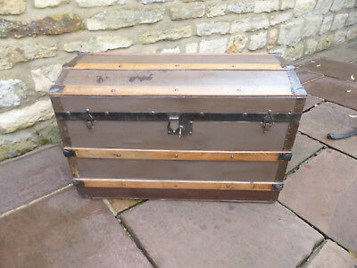Victorian Domed Top Trunk with Handles, Brass Lock + Key. Pine covered Hessian