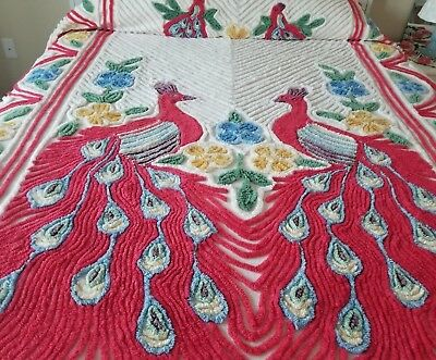 "Stunning Vintage Chenille Double Peacock Bedspread Red on Bright White 104"" x 94"