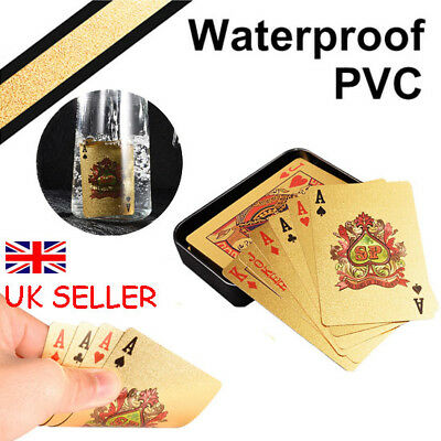 Waterproof Durable Plastic Playing Cards Gold Plated Poker Cards Deck Game Gift