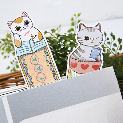 30Pcs Creative Cat Head Paper Bookmark Book Marks Marker Label Stationery YI