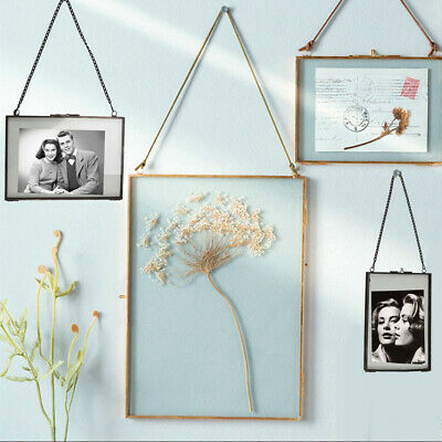d978cdeb066 Metal Glass Double Sided Hanging Photo Picture Frame Dried Flower Leaf Frame