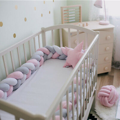 2M/3M Baby Infant Plush Crib Protector Bumper Bed Bedding Cot Braid Pillow Pad