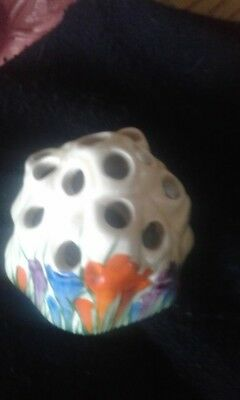 "clarice cliff ""crocus"" frog/flower holder"