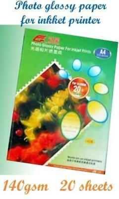 New Pack 20 Sheets x A4 Glossy Photo Paper For Inkjet Printer -140gsm u