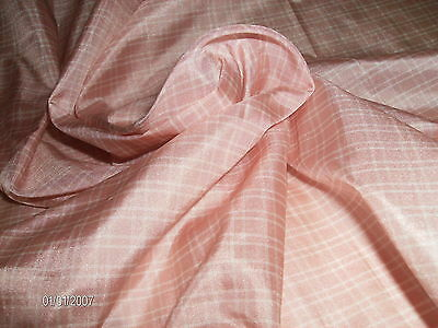 "NEW SMALLER SIZE!~SMALL PINK & WHITE PLAID SILK TISSUE TAFFETA~9""x22""~MINIATURES"