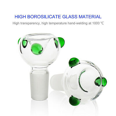 2-Pack 18.8mm Male Green Bong Accessories Parts Glass Bowl Fiter Ash Catcher